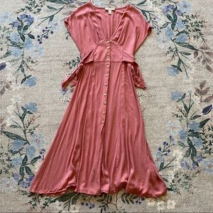 L F21 Contemporary rose pink button up midi dress